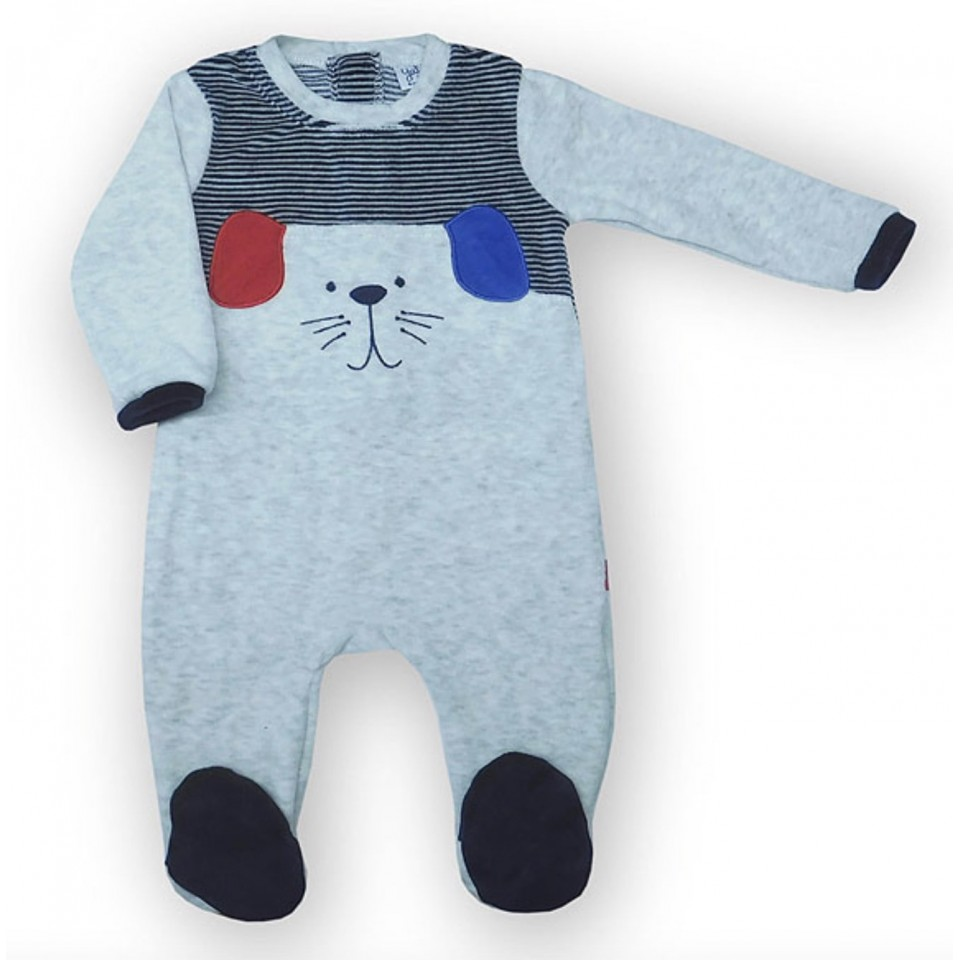 Dog footed baby body grey