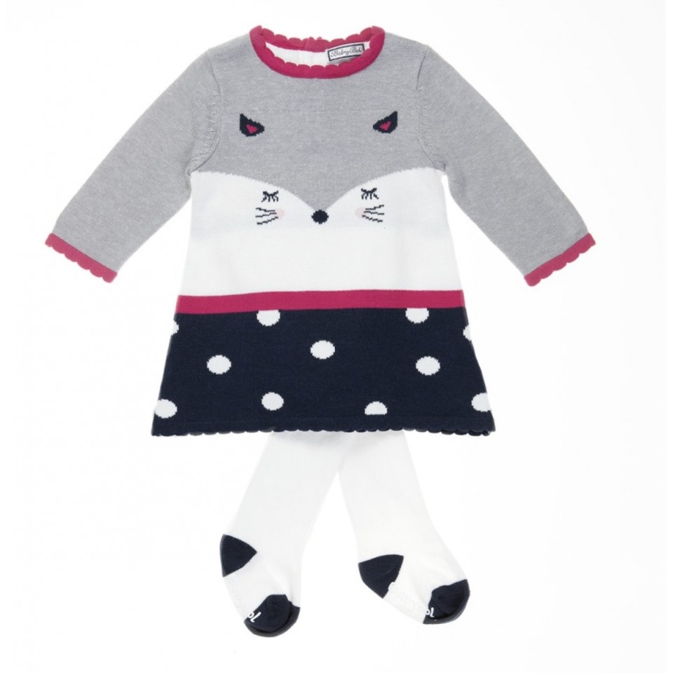 CAT KNIT GIRL DRESS AND LEGGINS