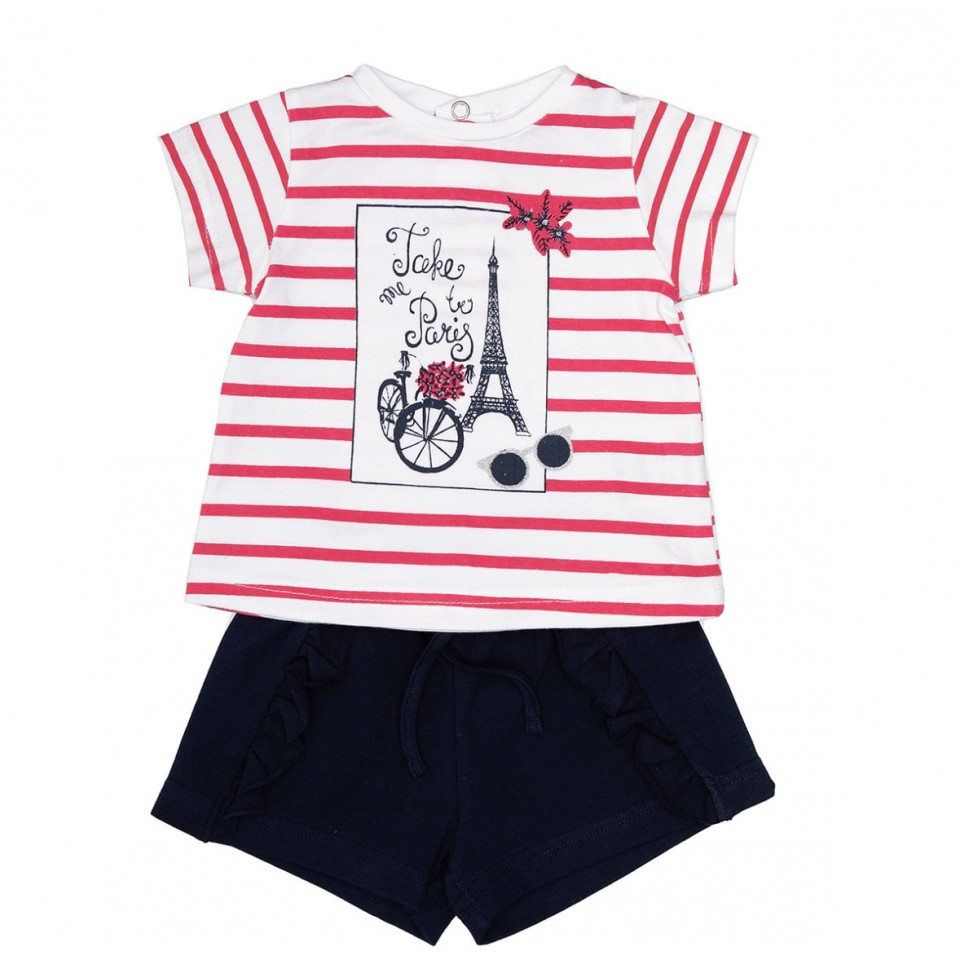 CAMISETA RAYAS Y SHORT PARIS NIÑA