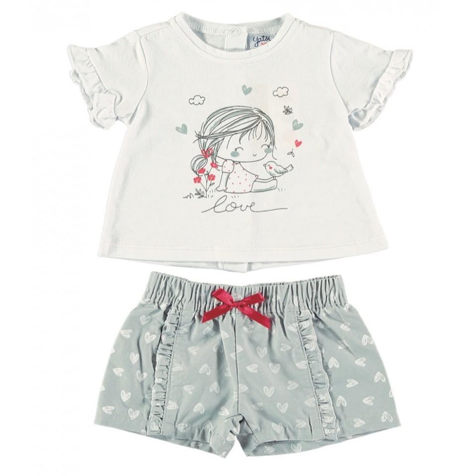 Conjunto recién nacida camiseta y short corazones